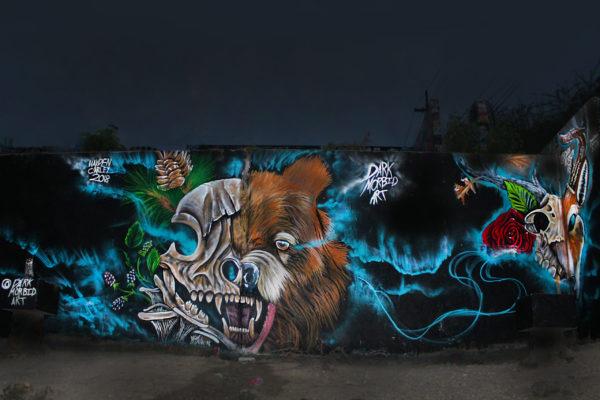 half skull bear mural